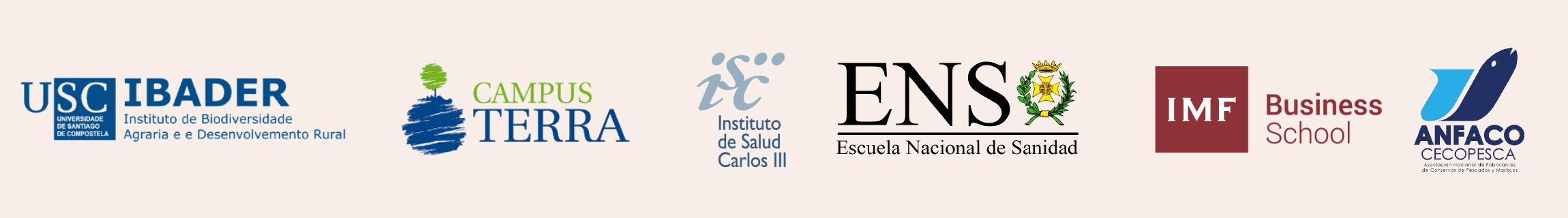 Logos USC, Campus Terra, ISC III, ENS, IMF y Anfaco Cecopesca